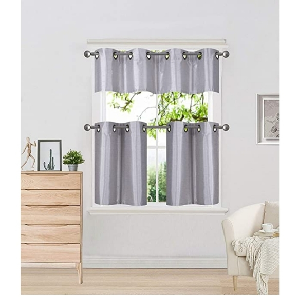 Other - New 3 piece Silver kitchen curtains